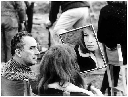 Antonioni e Monica Vitti sul set