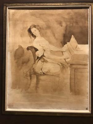 """Eugène Delacroix (Charenton-Saint-Maurice 1798 – 1863 Parigi). """"L'innamorata al piano""""."""