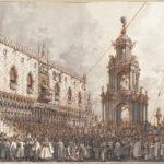 """Canaletto, La festa del """"Giovedì Grasso"""" davanti al Palazzo Ducale di Venezia, 1765/1766"""