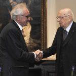 Professor Bazoli con il Presidente della Repubblica, Giorgio Napolitano, in visita all'inaugurazione delle Gallerie