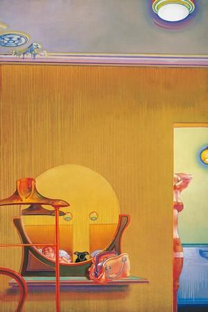 Leonardo Cremonini, Les indiscrétions d'une chambre  1970-1971, huile sur toile, 195 x 130 cm