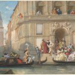 Eugène Lami, Figure in maschera salgono a bordo di gondole davanti a un palazzo veneziano, 1869