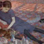 Felice Casorati, Bambina che gioca su tappeto rosso 1912