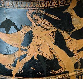 Atteone e i suoi cani del pittore di Dolone (cratere lucano ca 390 a.C.)