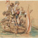 Friedrich Nerly, Figure in costume che festeggiano su un canale veneziano, primi anni quaranta del XIX sec.