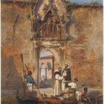 Ludwig Johann Passini, Monaci comprano pesce davanti al portale della Madonna della Misericordia, 1855