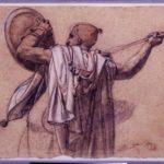 """Anne-Louis Girodet de Roussy-Trioson, """"Arabo visto di spalle, rivolto a sinistra, mentre alza la sua lancia e il suo scudo"""" ."""