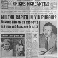 fotografia giornale con il titolo Milena rapita in via Puggia