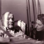 Venezia, Hotel Gritti 1954. Hemingway con Fernanda Pivano, dopo l'incidente in Africa Foto di Ettore Sottsass