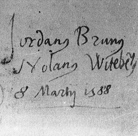 Firma autografa di Giordano Bruno del 1588