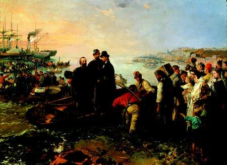Imbarco a Genova di Garibaldi e dei Mille, di Gerolamo Induno, 1860 ©Museo del Risorgimento, Milano