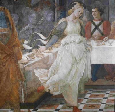 La superbe Salomé de Lippi, détail du Banquet d'Hérode dans le Duomo de Prato.