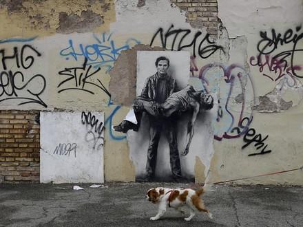 Un omaggio del pittore francese Ernest Pignon-Ernest a Pasolini