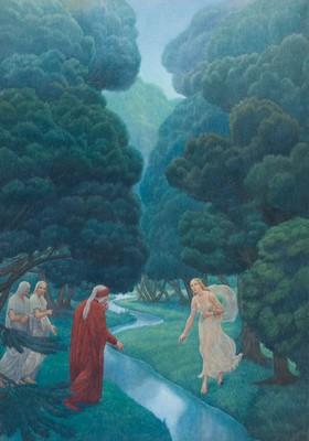 Dante che incontra Matelda, l'opera di Amos Nattini scelta per promuovere la mostra sulla Divina Commedia e che figura sulla locandina
