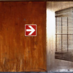 'Uscita di emergenza' 2002 - Ferro, vernice, 150x100 cm