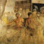 Achille e Briseide, seconda metà del I secolo d.C., Museo Archeologico Nazionale, Napoli, da Pompei, Casa del Poeta tragico.