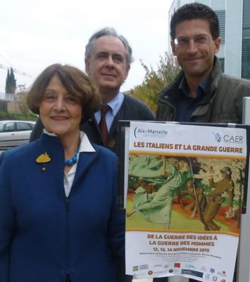 De gauche à droite, Emmanuelle Genevois, Fulvio Senardi et Giovanni Capecchi. Colloque Les Italiens et la Grande Guerre, Université Aix-Marseille, novembre 2015