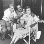 Eduardo, Peppino e Titina de Filippo durante le riprese di Ragazze da marito, 1952. Foto G.B. Poletto.
