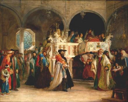 Festa della Torah nella sinagoga di Livorno – Solomon Alexander Hart, 1850