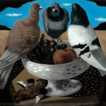 Gino Severini, Nature morte aux trois pigeons, 1929, pittura su vetro