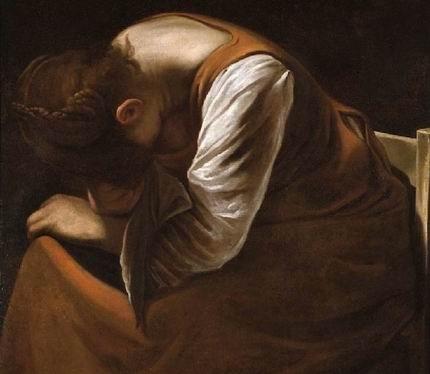 La Maddalena addolorata di Caravaggio, particolare