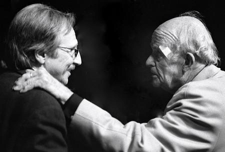 Mario Brenta con Jean Rouch, Presidente della Cinémathèque française (1987-1991) e, dal 1952 al 2004, Segretario generale del Comitato del film etnografico.