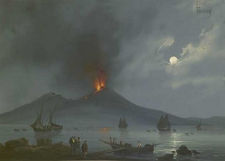 Vesuvio, veduta anonima dell'Ottocento.