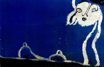 Osvaldo Licini, Blu Luna, presenza errante su nel cielo, 1950 circa.