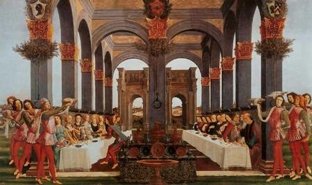 Nastagio degli Onesti di Sandro Botticelli, Il banchetto di nozze, tavola 4.