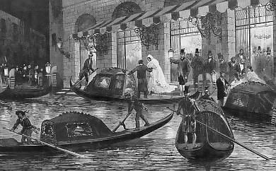 Arrivo al Teatro della Fenice nel Ottocento.