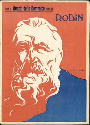 Giorgio Kienerk: Rodin, 1906, lithographie. Rome, Fondation Nievol Querc i ( Couverture de L'Avanti della domenica du 15 juillet 1906, n° 27, numéro spécial consacré à Rodin )