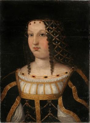 Portrait présumé de Lucrèce Borgia. D'après Bartolomeo Veneto (1510) - Huile sur bois, H.58 ; L.42 cm - Nîmes, Musée des Beaux Arts