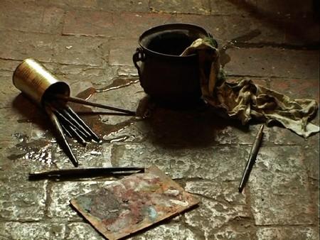 Lo studio di Tiziano dopo il furto.