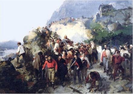 I volontari trasportano Garibaldi ferito in Aspromonte, 1862, olio su tela di Gerolamo Induno
