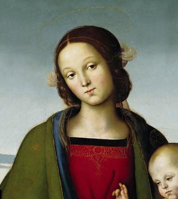 Vierge à l'enfant, détail, vers 1496, tempera sur bois, Galleria nazionale dell'Umbria