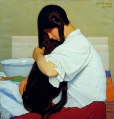 Oscar Ghiglia, La camicia bianca o Donna che si pettina, 1909