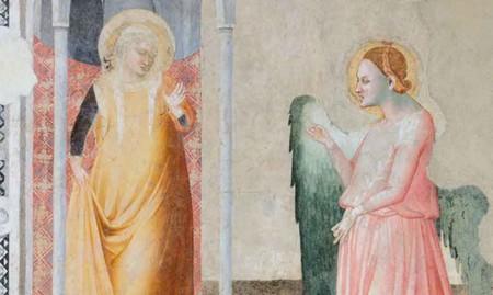 Maestro di Campodonico, Annunciazione (affresco staccato), Fabriano
