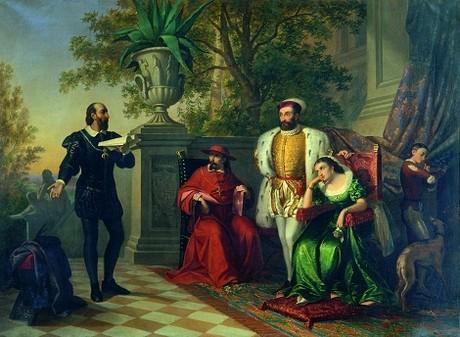 Massimiliano Lodi, Ludovico Ariosto legge l'Orlando furioso alla presenza della Corte Estense, 1860, Ferrara, Gallerie d'Arte Moderna e Contemporanea