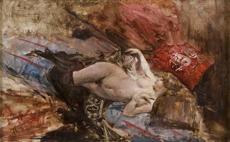 Giovanni Boldini - Nudo di giovane sdraiata con calze nere