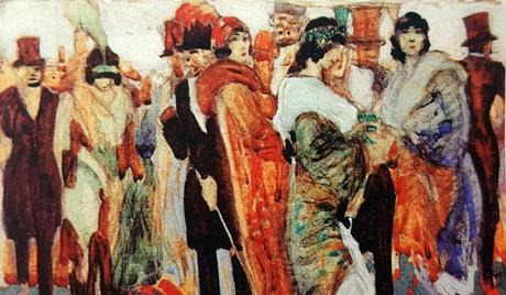 A.-Bonzagni, All'uscita-dalla-Scala, 1910, particolare
