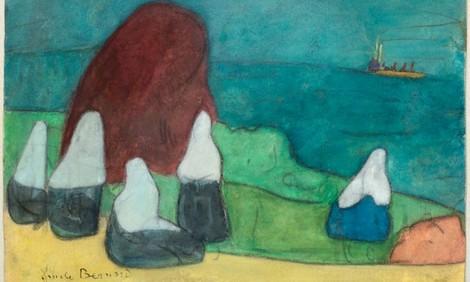 Émile Bernard, Donne bretoni sulla spiaggia e covone di alghe, 1888