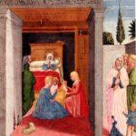 Pinacoteca vaticana, Benozzo Gozzoli, Madonna della cintola, Natività della Vergine.