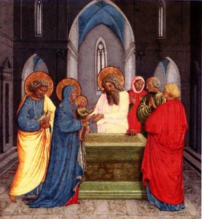 Pinacoteca vaticana, Benozzo Gozzoli, Madonna della cintola, Presentazione al tempio, particolare di predella.