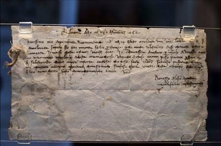Montefalco, Chiesa Museo di San Francesco. Lettera autografa di Benozzo Gozzoli.