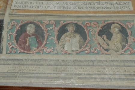 Montefalco, Chiesa Museo di San Francesco. Benozzo Gozzoli: Giotto insieme a Dante e Petrarca.