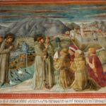 Montefalco, Chiesa di San Francesco, Predica agli uccelli e San Francesco benedice il popolo di Montefalco.