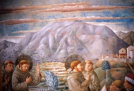 Montefalco, Chiesa di San Francesco. San Francesco benedice il popolo di Montefalco particolare.