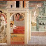 Montefalco, Chiesa di San Francesco. Francesco dona il suo mantello al povero e Sogno di San Francesco.