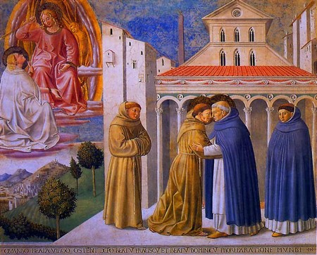 Montefalco, Chiesa di San Francesco. Incontro di San Francesco e San Domenico davanti all'antica basilica vaticana.