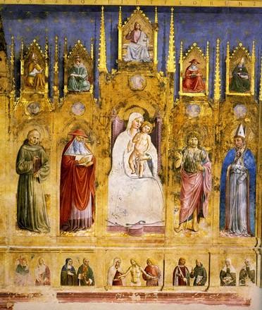 Montefalco, Chiesa di San Francesco, Cappella di san Gerolamo, finto polittico.